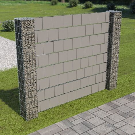 Gabion Fence with 2 Posts Galvanised Steel and PVC 180x180 cm - Silver