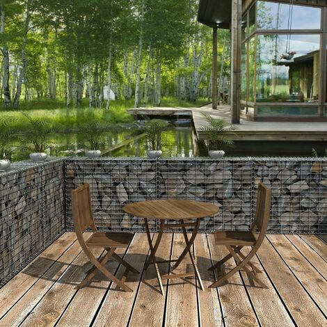 Gabion pierre 100 x 80 x 30cm métallique galvanisé Banc de jardin ...