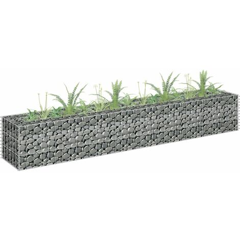Gabion Planter Galvanised Steel 180x30x30 cm