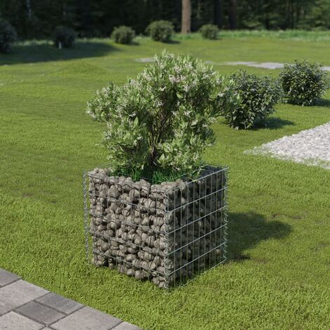 Gabion Planter Galvanised Steel 50x50x50 cm