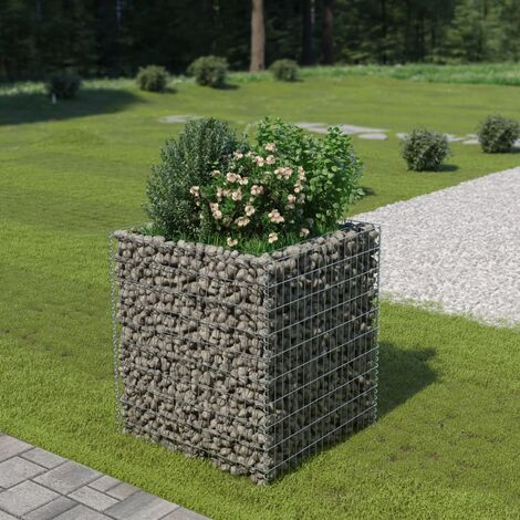 Gabion Planter Galvanised Steel 90x90x100 cm