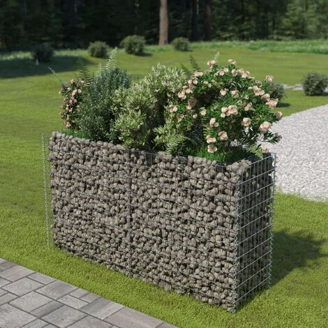 Gabion Raised Bed Galvanised Steel 180x50x100 cm