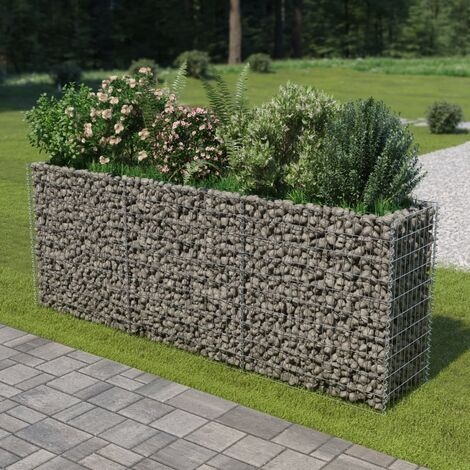 Gabion Raised Bed Galvanised Steel 270x50x100 cm