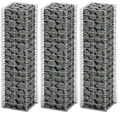 Gabion Set 3 pcs Galvanised Wire 25 x 25 x 100 cm