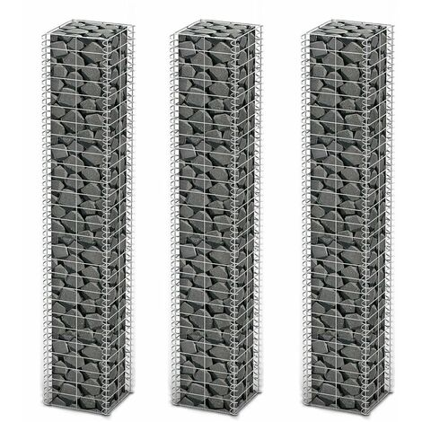 Gabion Set 3 pcs Galvanised Wire 25 x 25 x 150 cm
