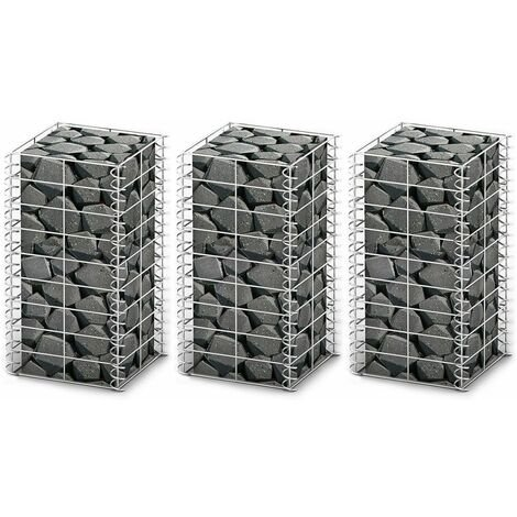 Gabion Set 3 pcs Galvanised Wire 25 x 25 x 50 cm