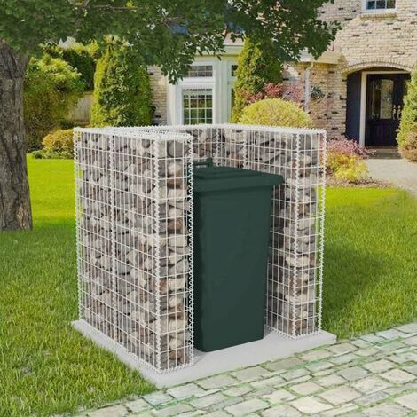 Gabion Single Wheelie Bin Surround Steel 110x100x120 cm - Silver