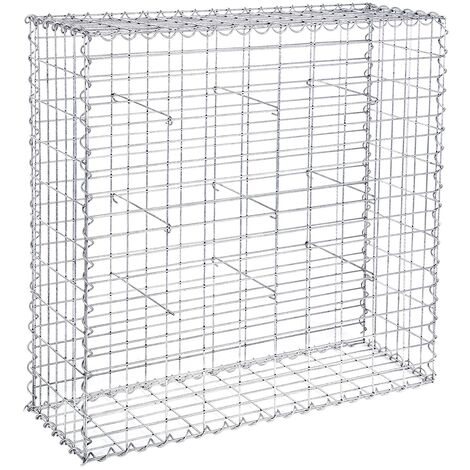Gabion Stone Wire dia 4 mm Mesh size 10 x 5cm Galvanized 100 x 95 x 30cm GGB193 - Silver