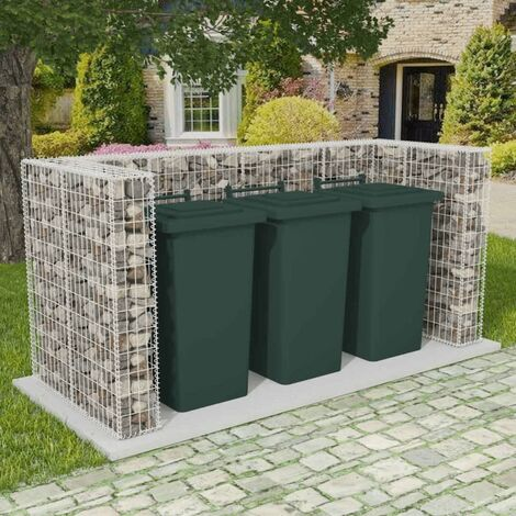 Gabion Triple Wheelie Bin Surround Steel 250x100x120 cm