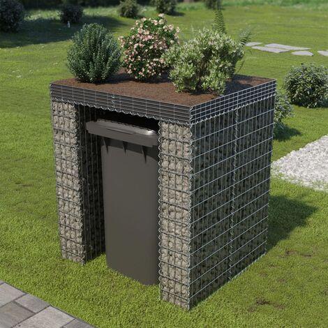 Gabion Wall for Garbage Bin Galvanised Steel 110x100x130 cm - Silver