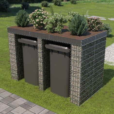 Gabion Wall for Garbage Bin Galvanised Steel 190x100x130 cm - Silver