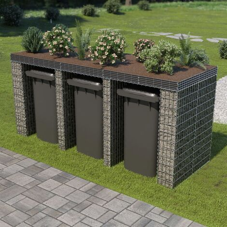 Gabion Wall for Garbage Bin Galvanised Steel 270x100x130 cm