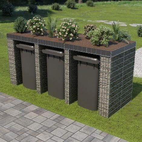 Gabion Wall for Garbage Bin Galvanised Steel 270x100x130 cm - Silver