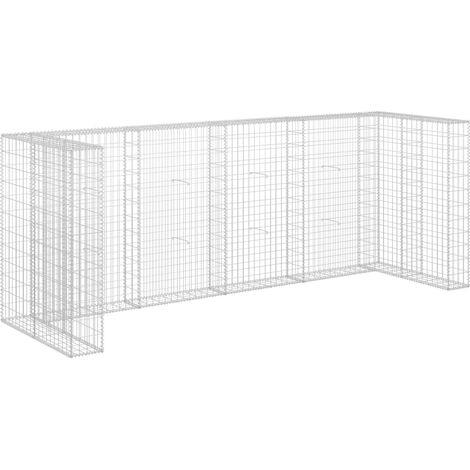 Gabion Wall for Garbage Bins Galvanised Steel 320x100x120 cm