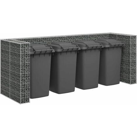 Gabion Wall for Garbage Bins Galvanised Steel 320x100x120 cm - Silver