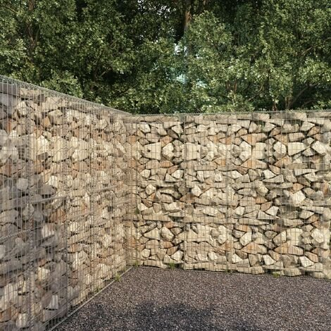 Gabion Wall with Cover Galvanised Steel 300x50x200 cm - Silver