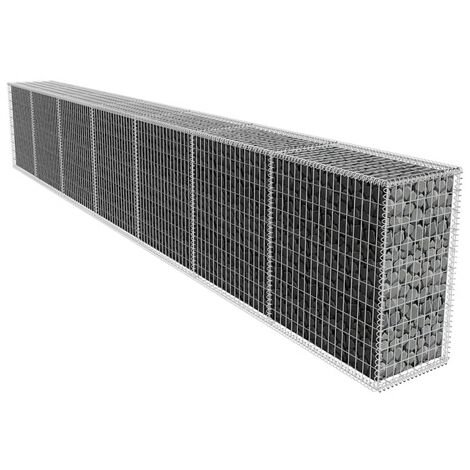 Gabion Wall with Cover Galvanised Steel 600x50x100 cm - Silver