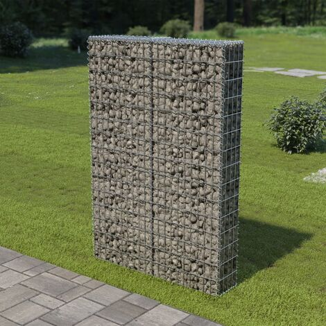 Gabion Wall with Covers Galvanised Steel 100x20x150 cm - Silver