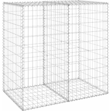 Gabion Wall with Covers Galvanised Steel 100x60x100 cm