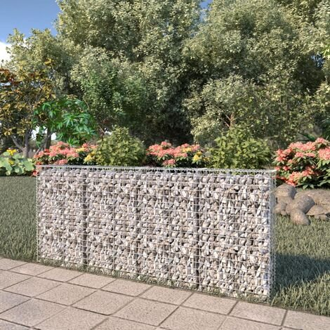Gabion Wall with Covers Galvanised Steel 200x20x85 cm - Silver