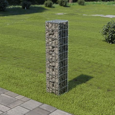"""main image of """"Gabion Wall with Covers Galvanised Steel 20x20x100 cm"""""""