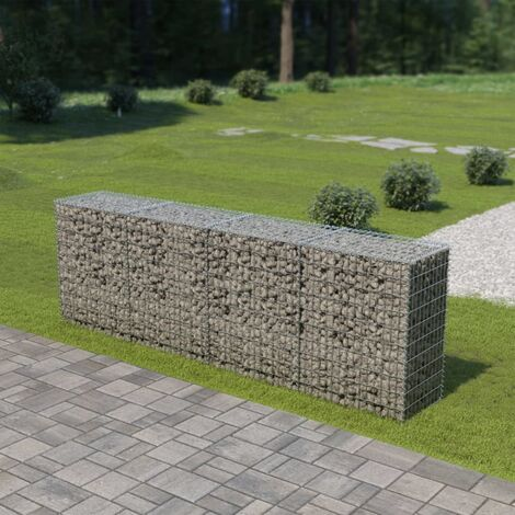 Gabion Wall with Covers Galvanised Steel 300x50x100 cm - Silver