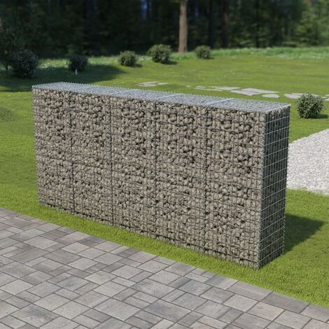 Gabion Wall with Covers Galvanised Steel 300x50x150 cm - Silver
