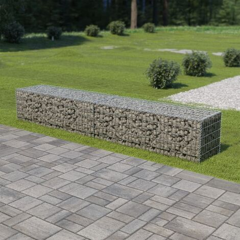 Gabion Wall with Covers Galvanised Steel 300x50x50 cm - Silver