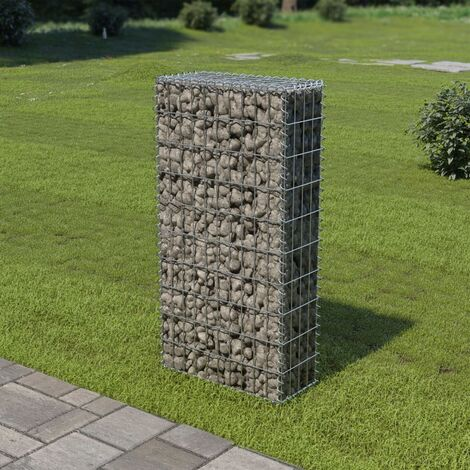Gabion Wall with Covers Galvanised Steel 50x20x100 cm - Silver