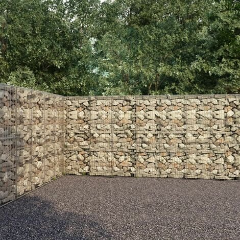 Gabion Wall with Covers Galvanised Steel 600x30x200 cm - Silver