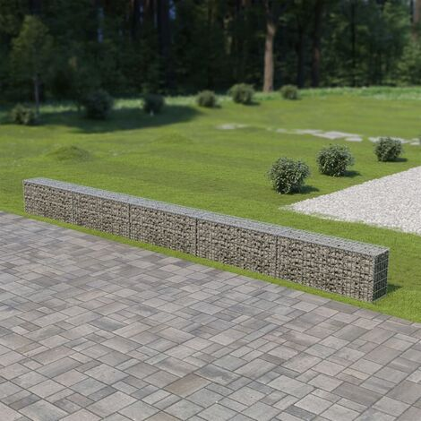 Gabion Wall with Covers Galvanised Steel 600x30x50 cm
