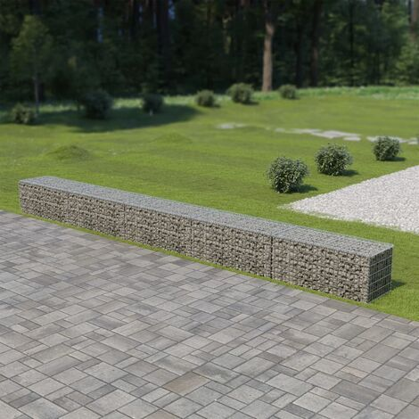 Gabion Wall with Covers Galvanised Steel 600x50x50 cm - Silver