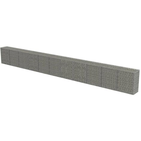Gabion Wall with Covers Galvanised Steel 900x50x100 cm