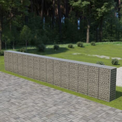 Gabion Wall with Covers Galvanised Steel 900x50x150 cm