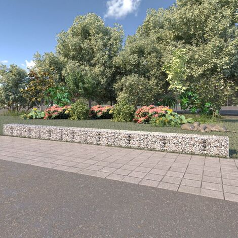 Gabion Wall with Covers Galvanised Steel 900x50x50 cm - Silver