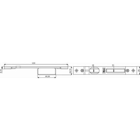 Gâche centrale réglable 29x229 mm ISEO pour serrure Performa - 038630
