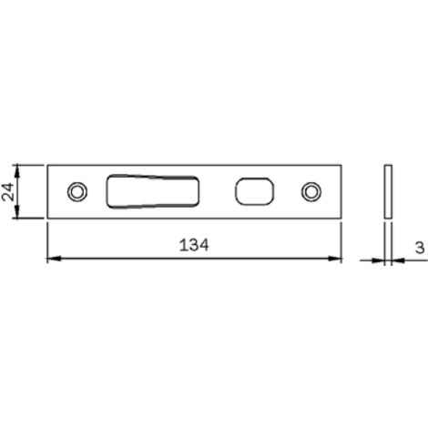 Gâche plate haute/basse Multiblindo ISEO pour penes crochet - Inox - 24x3x134 mm - 038095