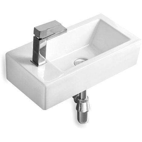 Gäste WC Waschbecken SOHO aus Keramik für Wandmontage oder als Aufsatzwaschbecken mit Hahnloch
