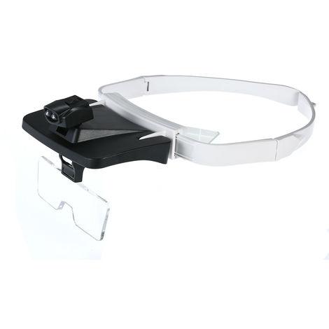 Gafas con lupa para diadema, 5 lentes reemplazables, 1.0X / 1.5X / 2.0X / 2.5X / 3.5X