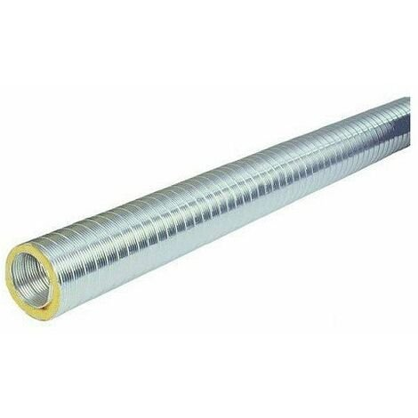 Gaine aluminium semi-rigide calorifugée et isolée - 2m - Diamètre 125mm - Isolation : 25mm