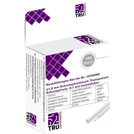Gaine thermorétractable avec colle TRU COMPONENTS T1902CA003A transparent 1.60 mm Taux de retreint:3:1 100 pc(s)