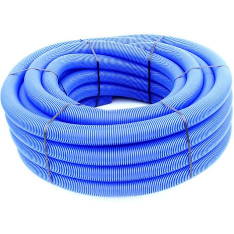 Gaine TPC annelée-lisse bleue EAU O90 en 50m avec tire-fil