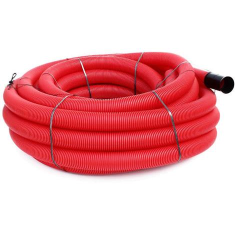 Gaine TPC annelée-lisse rouge EDF O110 en 50m avec tire-fil