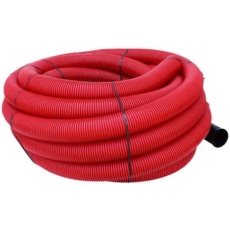 Gaine TPC annelée-lisse rouge EDF O160 en 50m avec tire-fil
