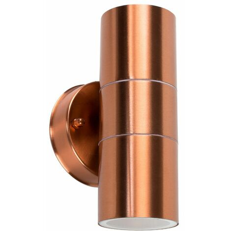 Gainsford GU10 Up Down IP44 Wall Light Copper - 2 Dusk to Dawn LED - Copper