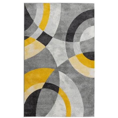 GALA Tapis de salon en polypropylene - 160 x 230 cm - Jaune - Motif Circulaire