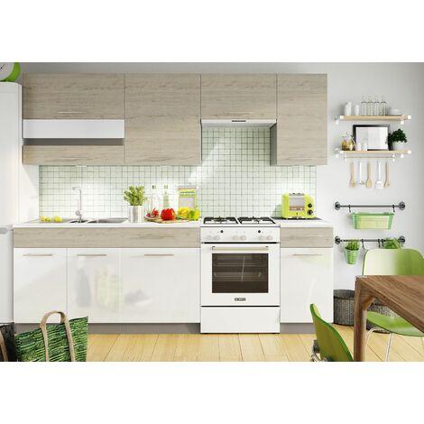 GALAO | Cuisine Complète Modulaire + Linéaire L 240cm 7 pcs | Ensemble Armoires Meubles cuisine | Double Finition | Poignées métal | Blanc