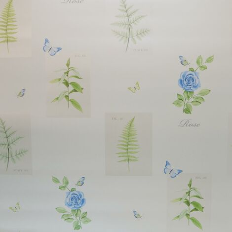 Galerie Botanical Wallpaper Butterflies Floral Rose Blue White Green Ferns