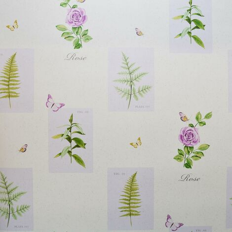 Galerie Botanical Wallpaper Butterflies Floral Rose Purple White Green Ferns