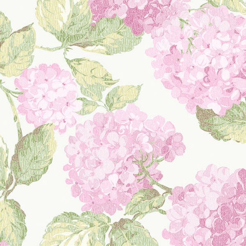 Image of Galerie English Florals Pink Hydreangea Wallpaper Botanic Textured Traditional